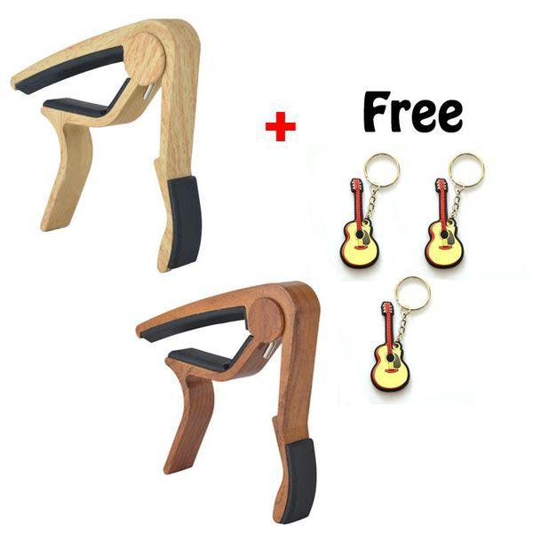 Envío gratis 6 cuerdas nuevo diseño madera grano guitarra acústica Capo instrumento musical guitarra Capo -2pcs (madera natural + madera de rosa)