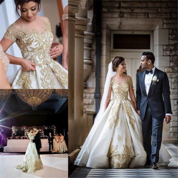 Glamorous Church Wedding Dress Illusion Sheer Crew South African Gown Detachable Train Appliqued Custom Made