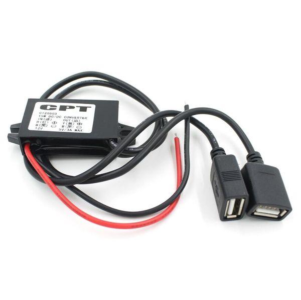 CPT-Auto-Ladegerät-DC-Konverter-Modul-Adapter 12V zu 5V 3A 15W Spannung Step-Down mit Doppel-USB ein weibliches Mikro-USB-Kabel für DVR AUTO GPS