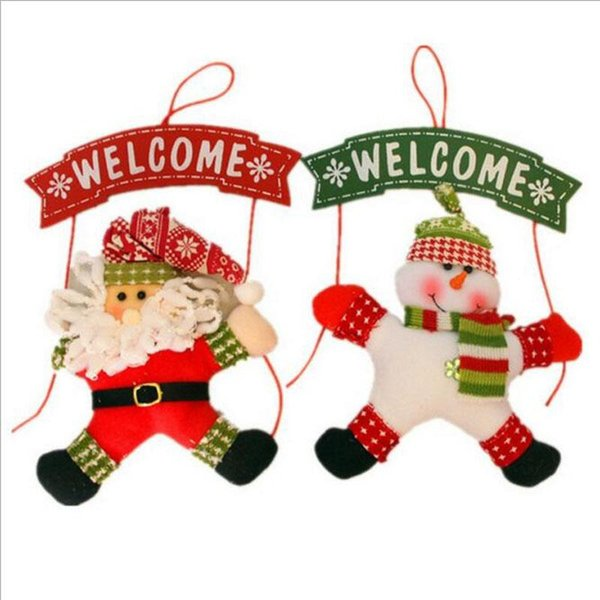 Décorations De Noël Père Noël Bonhomme De Neige Arbre Porte Décoration De Noël Pour La Maison Ornement Décor Suspendu Pendentif De Noël