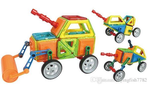 2017 Engineering Series Magnetic Blocks Excavator Dump Truk Roller Building Puzzle Magnet Blocks Toys for kids Christmas Childrens Gift DHL