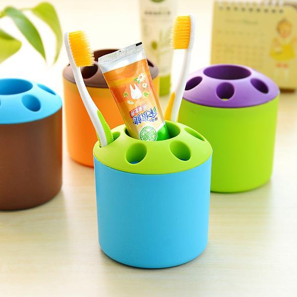 best selling Creative candy-colored porous toothpaste, toothbrush holder Desktop Multifunction pen holder Shelves