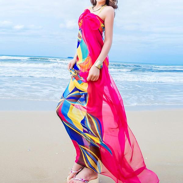 Al por mayor-Pareo Bufanda Mujeres Sarongs Playa Nuevo Verano Pañuelos de gasa Diseño Geométrico Bufanda 140x190cm accesorios de las mujeres
