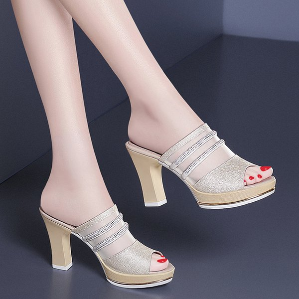 2017 Kadın Moda Tıknaz Topuklu Sandalet