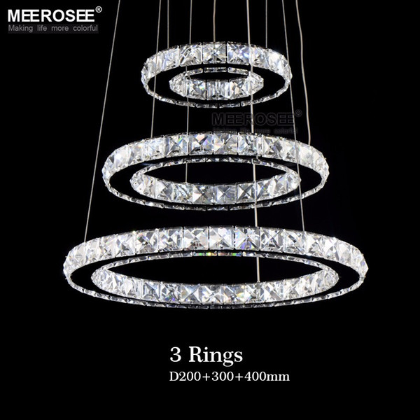Hot sale Diamond Ring LED Crystal Pendant Light Modern LED Lighting Circles Hanging Lamp 100% Guarantee Lustres Luminaire