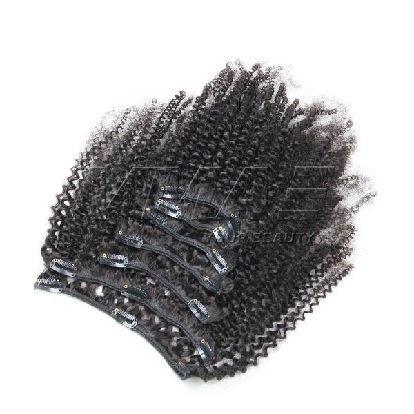 Brasilianische Afro-verworrene lockige Clip In Haarverlängerungen 7 Teile / satz 4B 4C Clips In Haarverlängerungen 100g 120g 160g VMAE Haar