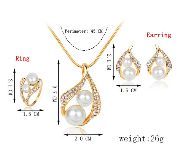 Necklace/Earring/Ring Pearl Jewelry Set For Natural Freshwater Pearl Jewelry Sets For Women Necklace wedding jewelry set 162163