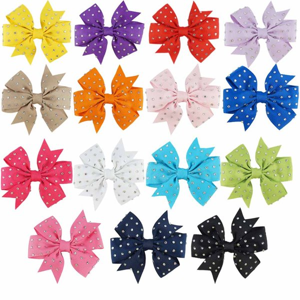 15 Pcs/lot 4 inch Pinwheel Hair Bow With Diamond Grosgrain Ribbon Hair Clips For Newborn