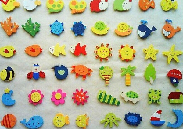 top popular 3600pcs Baby Kid Wooden Magnet Educational Toy Kitchen Fridge Cartoon Funny Gift 2021