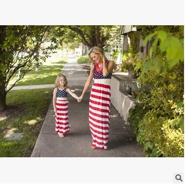 Celebrate Independence Day Family Matching Outfits For Mother And Daughter Dress Bohemian Beach Dress Summer Sleeveless long Dresses