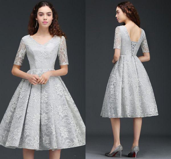 Großhandel Elegante Kurze Mutter Der Braut Kleider Silber Volle ...