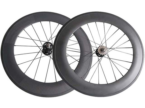 700C track bike Front Rear wheels fixed gear 88mm Clincher / Tubular carbon flip flop single speed bicycle wheelset