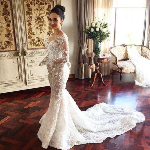 Steven Khalil Mermaid Wedding Dresses Stunning 3d Floral Appliqued ...