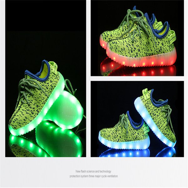 6 Colors Fast DHL Shipping Kids LED Shoes light colorful Flashing Shoes with USB Charge Unisex Fluorescent light Up Shoe Athletic Shoes