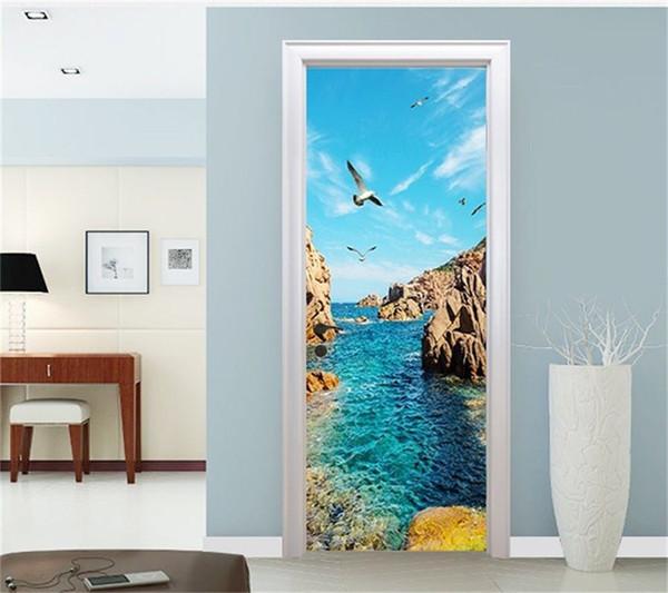 Free shipping HOT Bay Scenery Door Wall Stickers DIY Mural Bedroom Home Decor Poster PVC Waterproof Door Sticker 77x200cm