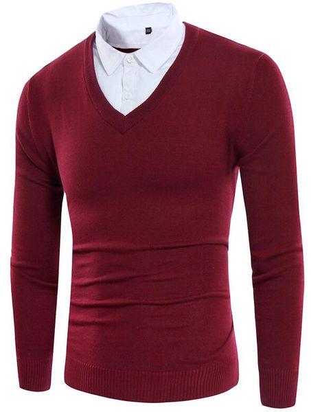 Pull-over d'automne pour hommes pull style pull col rond en coton de style causal, très beau tricot pour homme gris noir M-3XL