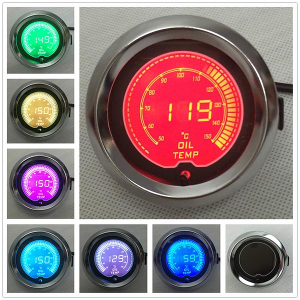 "BLACK 2"" (52mm) LCD Digital 7 Color Display Oil Temp Gauge 50-150 C With Sensor/AUTO GAUGE"