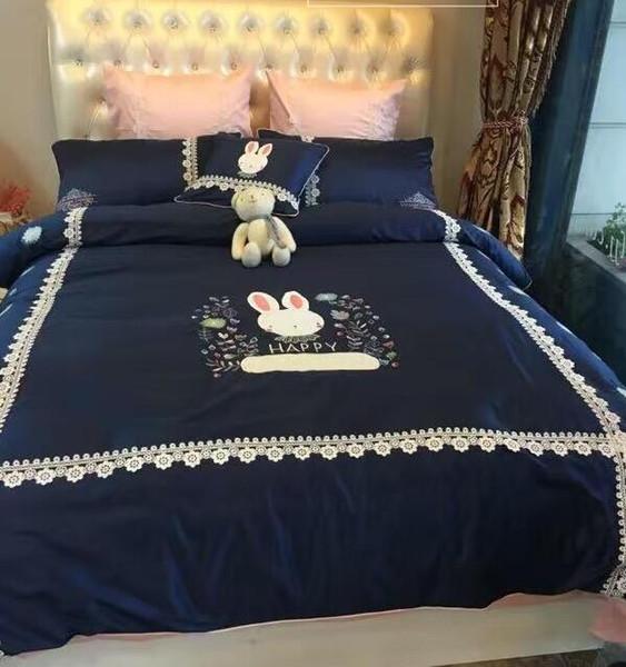 High-end 60 longo grampo azul coelho dos desenhos animados conjuntos de cama de algodão bordado rendas 4 pcs, fronha, saia da cama Capa de Edredão
