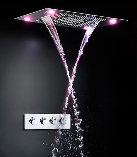 5 Function Bathroom Accessories Shower Heads 600*800mm Embeded Ceiling Shower Heads LED Rainfall Waterfall Spray Mist Bubble Shower Head