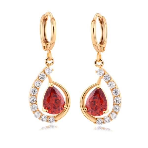 18K Yellow Gold Plated Clear Crystal Cluster Cubic Zirconia CZ Dangle Earrings Fashion Womens Jewelry for Party