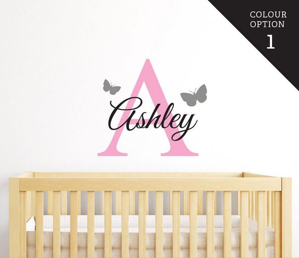 Customized Name Butteryfly Wall Decal for Girls Boys Kids Baby Room Mural Removable Vinyl DIY Wall Sticker Free Shipping A032