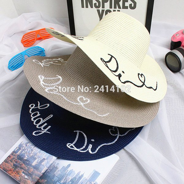 Wholesale- Summer Straw Large Brim Letter Sequin Embroidery Hats Eugenia Kim Floppy Hat Girl Sunny Ladies Beach Caps Straw Boho Cap 7 color