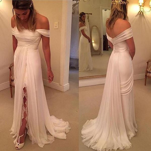 top popular Newest Off The Shoulder Chiffon Sheath Wedding Dresses Chapel Train Button Back Elegant Chiffon Bridal Wedding Gowns 2019