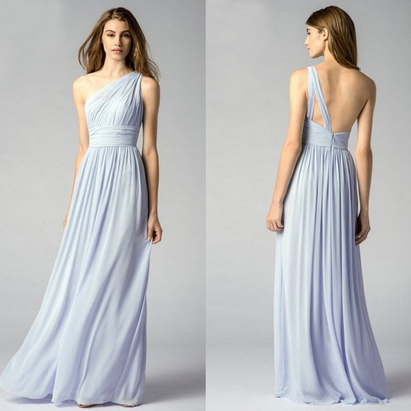 One Shoulder Light Blue Bridesmaid Dresses Elegant Long Chiffon ...