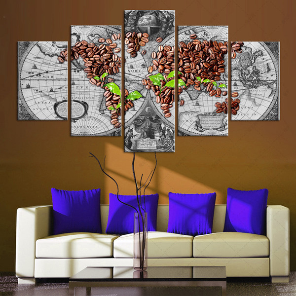 Ancient Roads world map Canvas Painting 5 Piece No frame Abstract Art Print Picture For Living room Home Decor