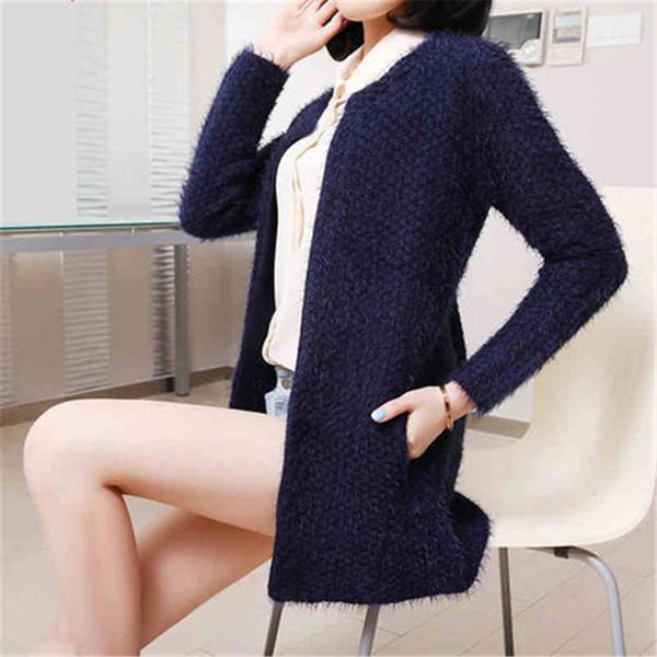 Atacado-Hot inverno mulheres lã suéter de cashmere Pull Femme O pescoço longo bolso sólidos blusas femininas de malha Cardigans de manga longa