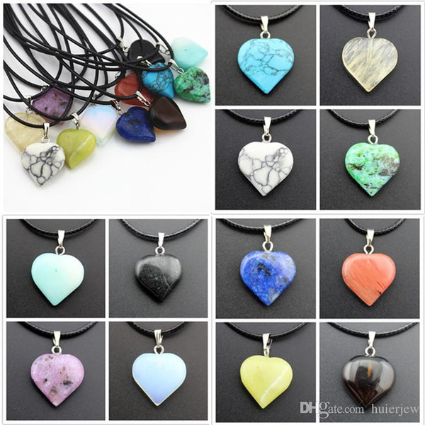 Rope Leather Necklaces Statement Jewelry Cheap Healing Crystals Turquoise Rose Quartz Heart Moon Natural Stone Pendants Stone Necklace