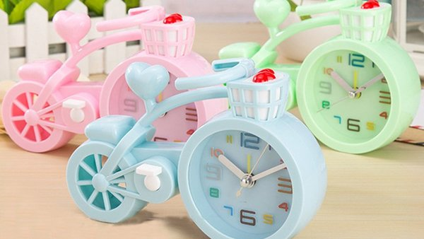 3 color table clock , candy color thickening plastic alarm clock, creative bicycle alarm clock, student gifts, birthday crafts