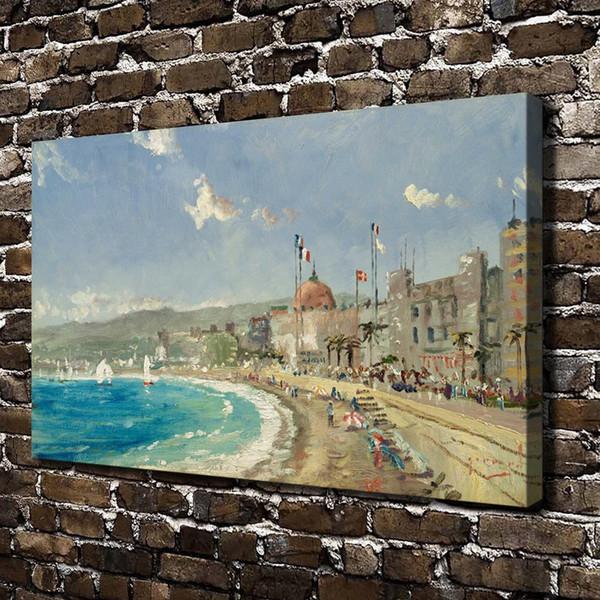 HD Отпечатано Томас Кинкейд Картина Маслом Украшения Дома Стены Искусства на Холсте Пляж в Ницце Без Рамы