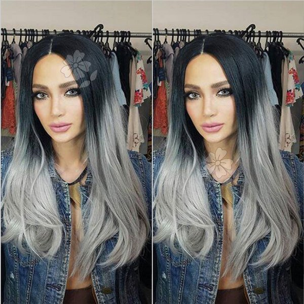 Ombre Grey Synthetic Lace Front Wig Glueless Heat Resistant Fiber Hair Wigs Natural Straight Black Roots Ombre Grey Wigs For Fashion Women
