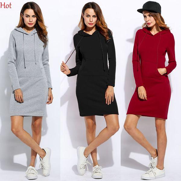 Plus herbst winter casual dresse frauen hoodie dress casual hüften langarm casual style mit kapuze dress dame sweatshirt tasche dress svh031596