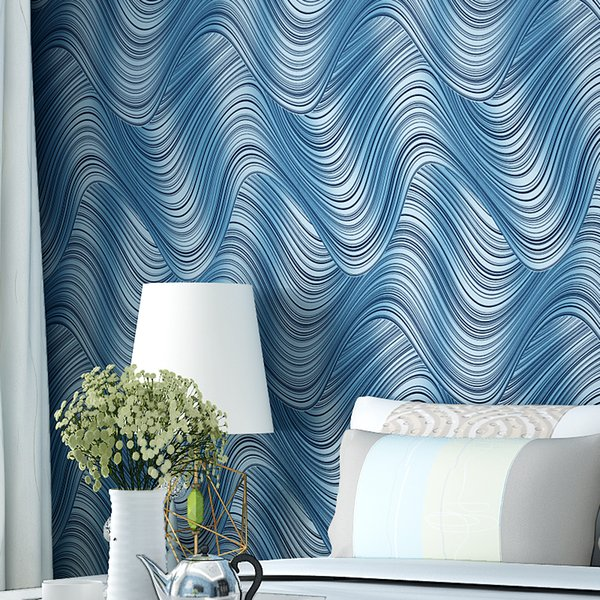 Wholesale- Minimalist Geometric Lines Wavy Background Wallpaper Non-woven Wallpaper The Living Room Tv Backdrop Wall Papers Free Shipping