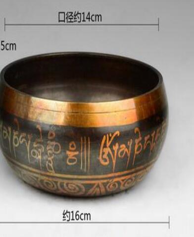 Decoration Brass Diameter 14cm MEDITATION HEALING GENUINE GLORIOUS OLD YOGA RARE TIBETAN SINGING BOWL copper singing bowls