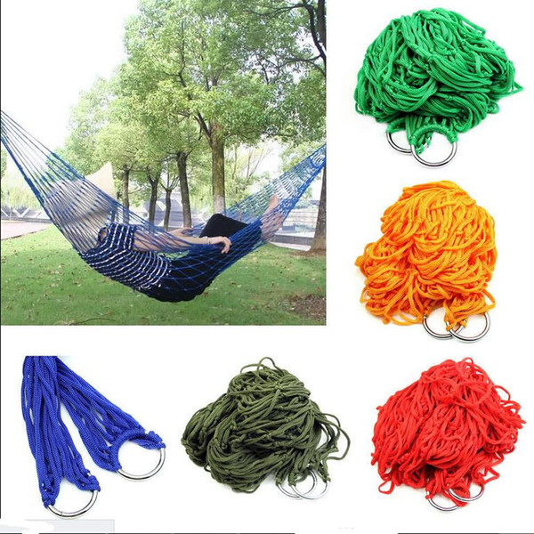 best selling Free shipping Style Mesh Nylon Hammock Hanging Outdoor Garden Swing Sleeping Bed Swing Strong Hammock for Camping   Hiking   B