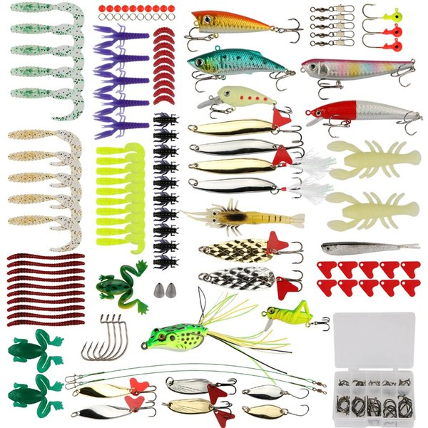 Pisfun Fishing Lure Kit 175Pcs/Set Minnow Popper Crank Spinner Metal Spoon Lure Swivel Soft Bait Kit Fishing Tackle Box