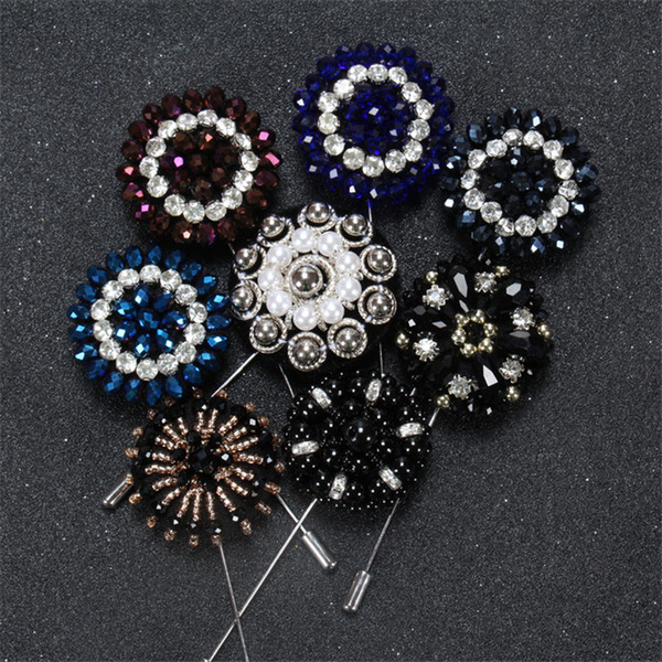 BoYuTe 5Pcs 8 Colors Rhinestone Flower Brooch Wholesale Handmade Pins and Brooches Men Lapel Pin for Suit Jewelry Christmas Ornament