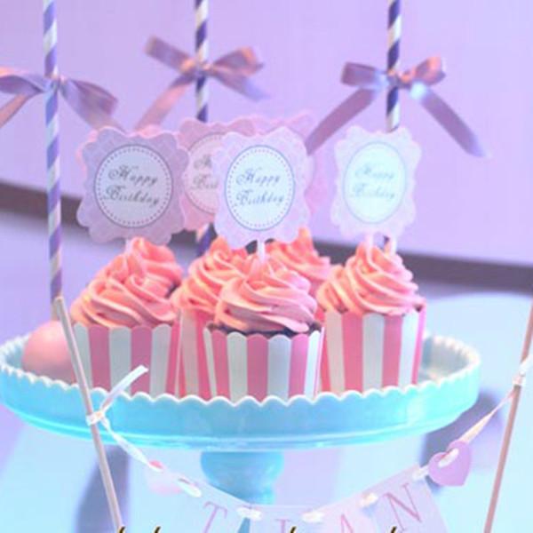 Estuches de papel para cupcakes Mini Muffin Cup Cake Wrapper Cupcake Liners Bandas de colores Broma de alta temperatura para hornear a prueba de grasas