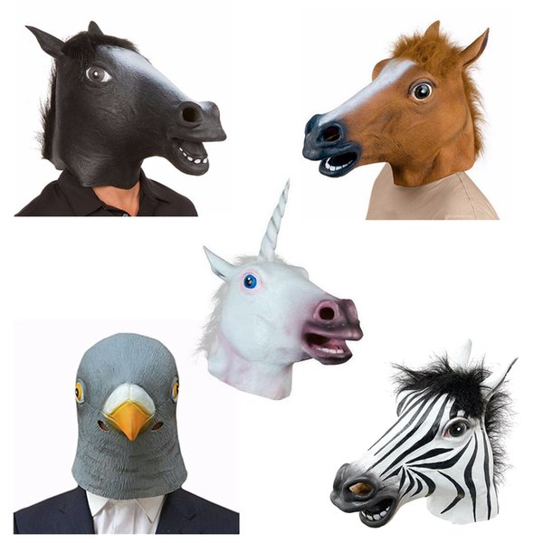 5 Style Creepy Unicorn Horse Animal's Head Latex Mask Halloween Costume Theater Prank Prop Crazy Party Mask Hot Sale