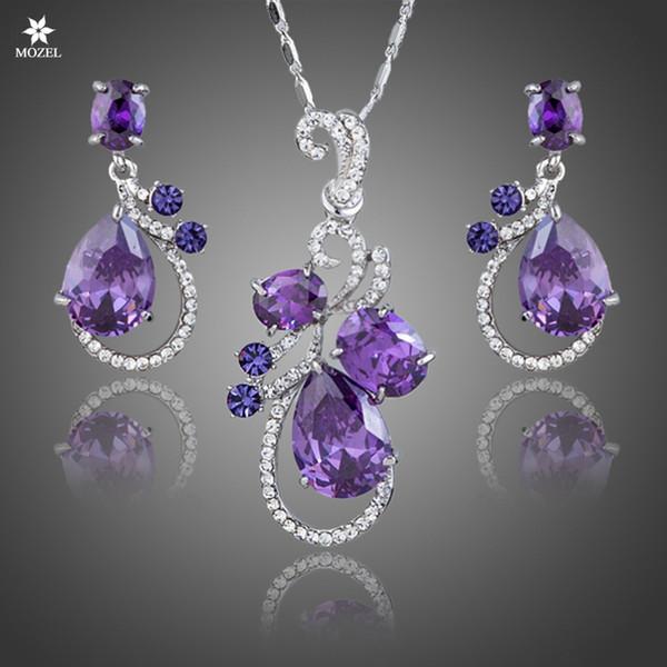 Wholesale MOZEL Swarovski Elements Purple Cubic Zirconia Crystal Water Drop Earrings & Pendant Necklace Women Wedding Jewelry Sets TG0173