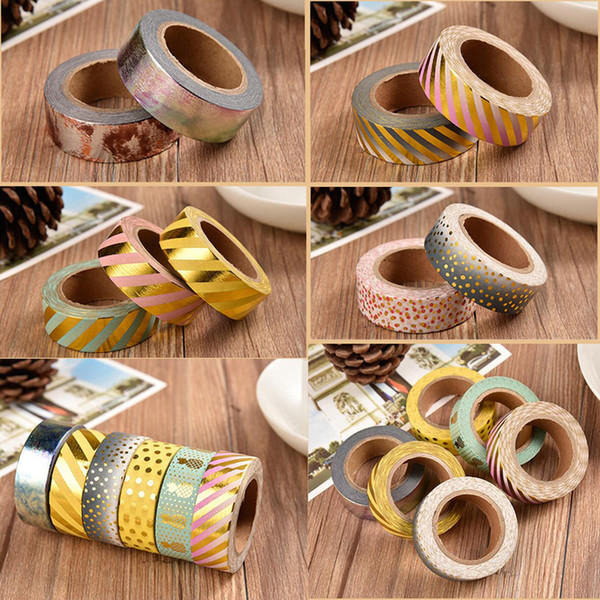 best selling 2016 Wholesale 15 mm*10m DIY Paper washi tapes Decorative Stickers School Supplies Colorful Sticky Creative Stationery