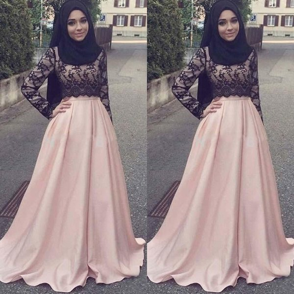 2017 Muslim Evening Dresses Long Cheap Black Lace Blush Pink Satin Long Sleeves Formal Prom Party Gowns Custom Made China EN4262
