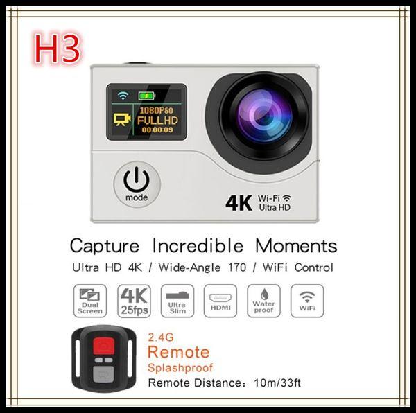 Caméras d'action d'origine H3R 4K Ultra HD WIFI Télécommande 2.4G Télécommande étanche Sport Caméscopes Vidéo 2.0 LCD 1080P 170 Objectif