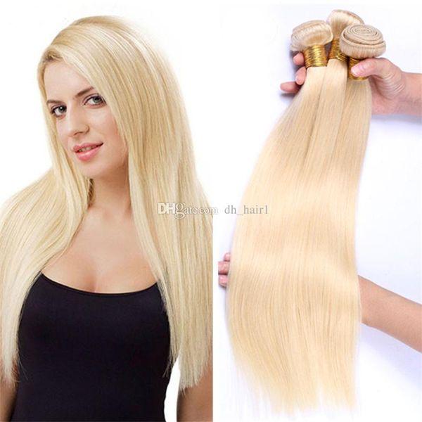 8A Cheap Platinum Blonde Virgin Peruvian Straight Hair Bundles #613 Blonde Straight Human Hair Weaves 3Pcs/Lot Blonde Extensions 300Gram