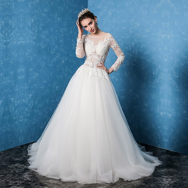 2017 New Simple Korean Wedding Dress The Brides Word Shoulder - Korean Wedding Dress
