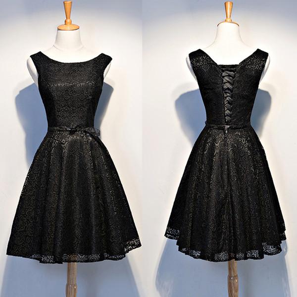Simple Black Lace Prom Dress Short Plus Size A Line Scoop Lace Up ...