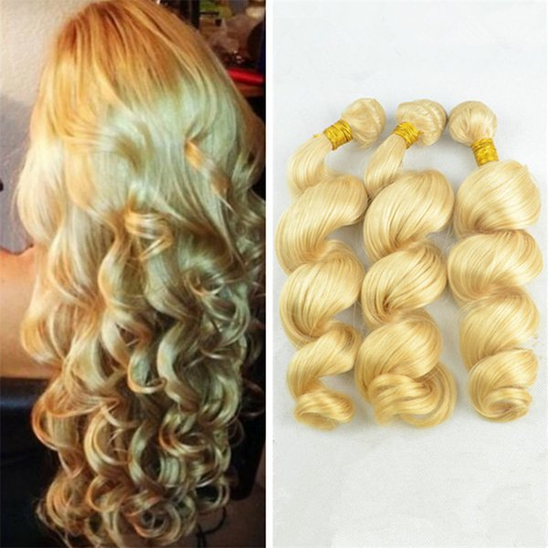 Platinum Blonde Loose Wave Virgin Peruvian Human Hair Weaves 3Pcs/Lot Pure #613 Blonde Human Hair Bundles Loose Wavy Extensions